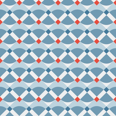 Fashion geometric pattern in retro blue colors, seamless vector background  For fashion textile, cloth, backgrounds  Illustration