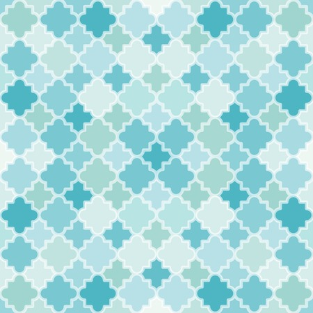 seamless clover: Abstract Turquoise Pattern. Seamless vector background with quatrefoil lattice shapes. Illustration