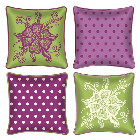 room accents: Set of four matching decorative pillows for interior design - floral and polka dot pattern  Vector illustration