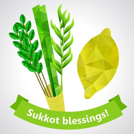 four species: Four species - palm, willow, myrtle , etrog - symbols of Jewish holiday Sukkot  Vector illustration  Illustration