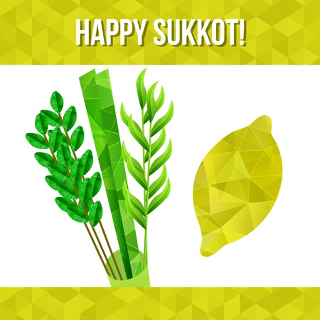 tabernacles: Four species - palm, willow, myrtle , etrog - symbols of Jewish holiday Sukkot  Vector illustration  Illustration
