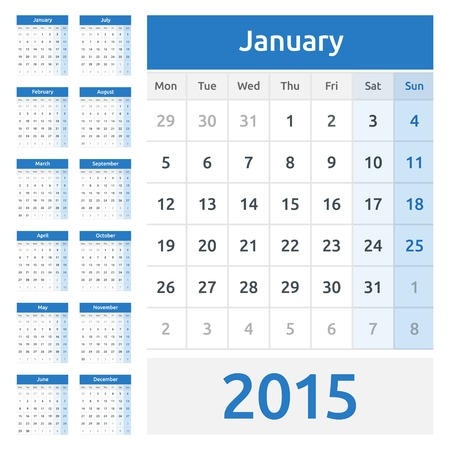 Simple european calendar grid for 2015 year. Clean and neat. Only plain colors - easy to recolor. Vector
