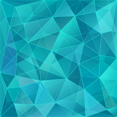 Abstract geometric background with triangular polygons - low poly. Vector illustration. Turquoise.