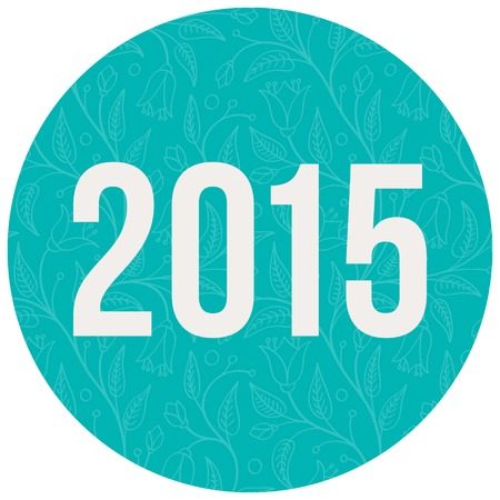 2015 number on color circle background. Vector illustration. Vector