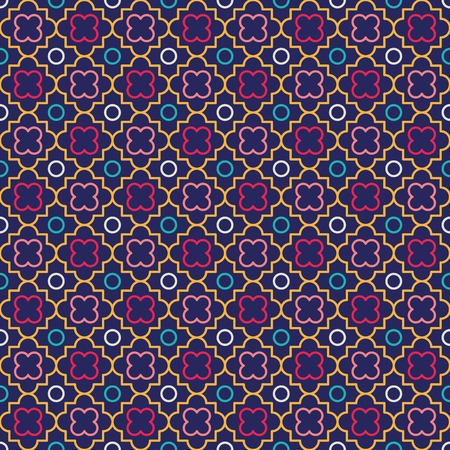 Traditional quatrefoil lattice pattern. Seamless vector background. Vector