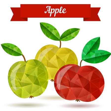 Juicy Apple - vector illustration in low poly style.