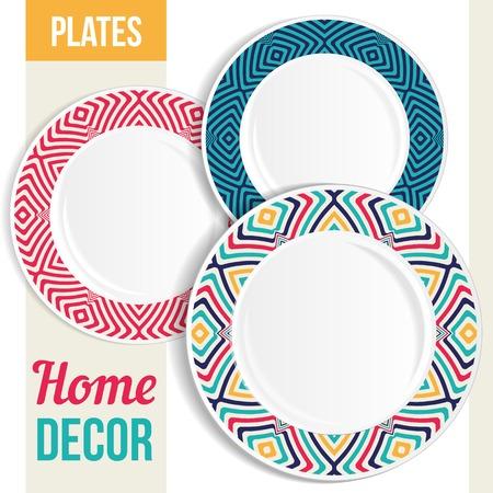 breakfast plate: Set of 3 matching decorative plates for interior design - pink flower. Vector illustration.