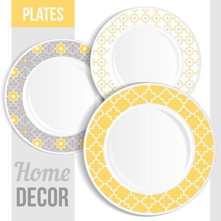 porcelain plate: Set of 3 matching decorative plates for interior design - pink flower. Vector illustration.