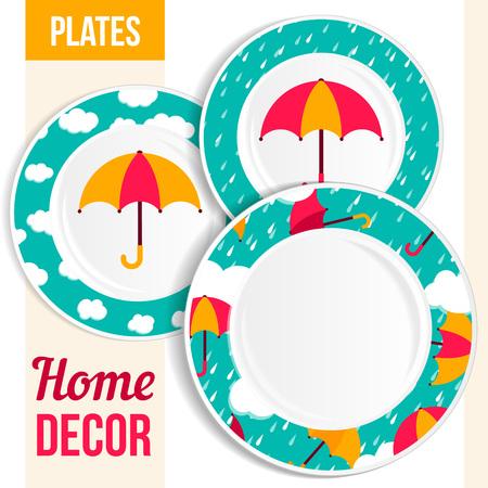 Set of 3 matching decorative plates for interior design - umbrella. Vector illustration. Vector