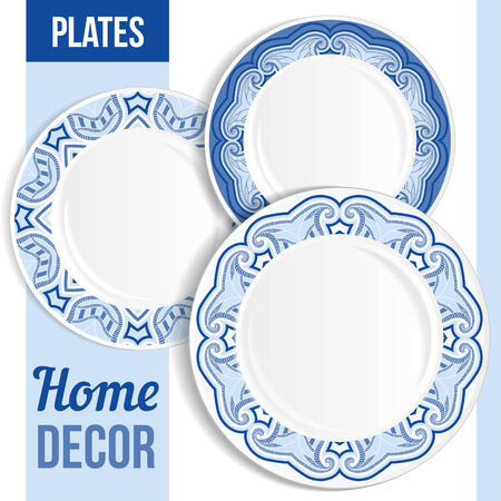 empty plate: Set of 3 matching decorative plates for interior design - blue floral. Vector illustration. Illustration