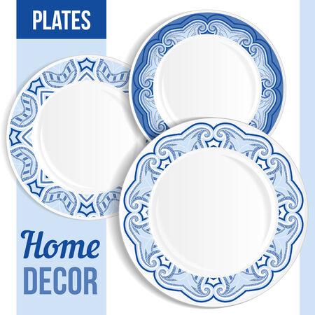 Set of 3 matching decorative plates for interior design - blue floral. Vector illustration. Illustration