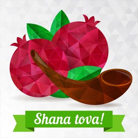 shofar: Rosh hashana card - Jewish New Year.