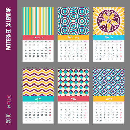 European calendar grid for 2015 year with abstract geometric patterns. Six pages. Part one - from January to June.  Vector