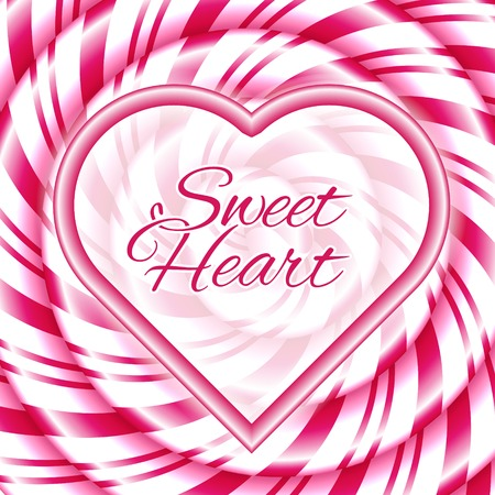 love abstract: Sweet heart - abstract background with candy cane sweet spiral. Vector illustration.