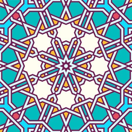 moorish: Intricate moorish eastern pattern. Seamless vector background. Plain colors - easy to recolor. Illustration