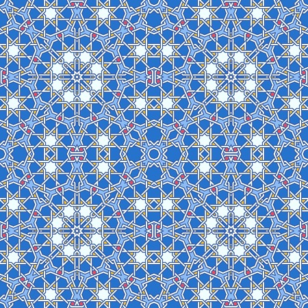 Intricate moorish eastern pattern. Seamless vector background. Plain colors - easy to recolor. Vector