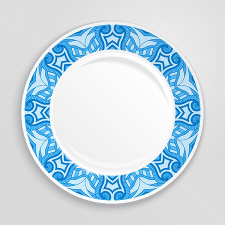 Decorative plate with patterned border, on gray background, top view. Vector illustration. Vector