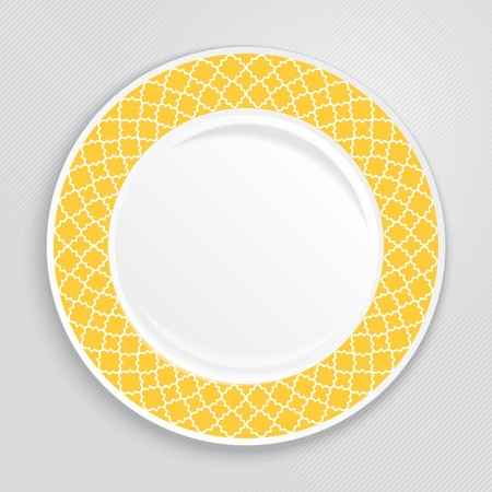 porcelain plate: Decorative plate with patterned border, on gray background, top view. Vector illustration.