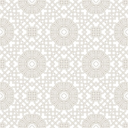 Tangled modern pattern, based on traditional oriental patterns. Seamless vector background. Two colors - easy to recolor. 免版税图像 - 35389133