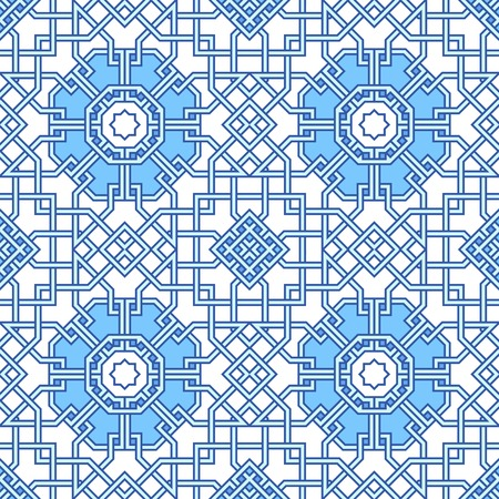 moorish: Tangled modern pattern, based on traditional oriental patterns. Seamless vector background. Plain colors - easy to recolor.