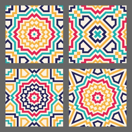 opt: Abstract geometric tile for seamless background - crazy colorful lines. Vector illustration.