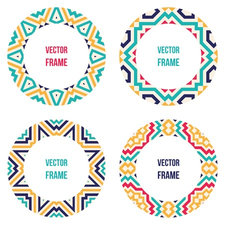 Four round frames with abstract geometric patterns. Vector illustration.