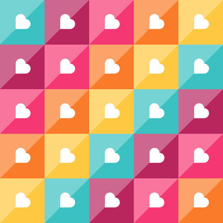 Geometric pattern with diamond shaped elements and hearts. Colorful abstract vector background Vector