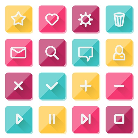 Flat UI design elements - set of basic web icons on colorful bars. Vector illustration. Vector