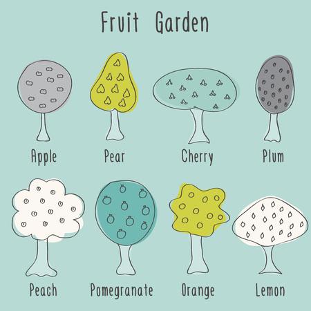 Garden  fruit doodle trees. Vector illustration. Vector