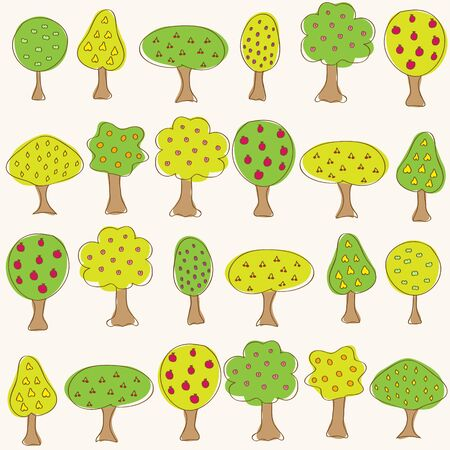 Garden pattern with different fruit doodle trees. Seamless vector background. Vector