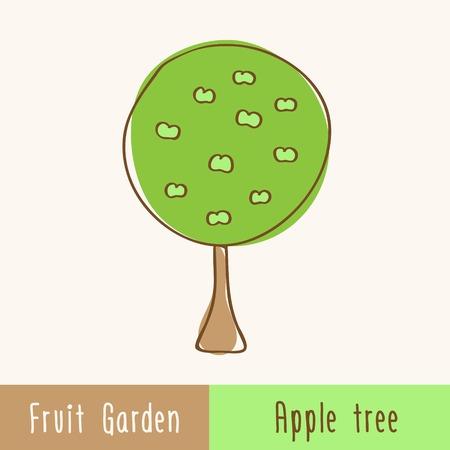 albero di mele: Alberi da frutta giardino - singolo albero - disegnati a mano scarabocchi. Illustrazione vettoriale.