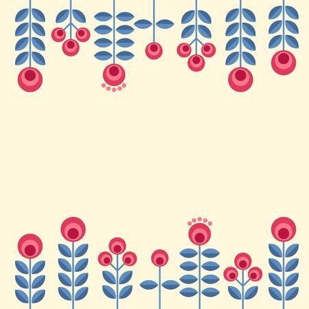 Scandinavian folk style flowers - seamless floral pattern based on traditional folk ornaments. Vector illustration. 向量圖像
