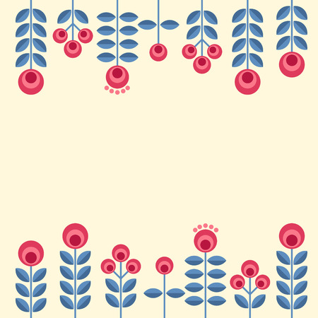 Scandinavian folk style flowers - seamless floral pattern based on traditional folk ornaments. Vector illustration. Vettoriali