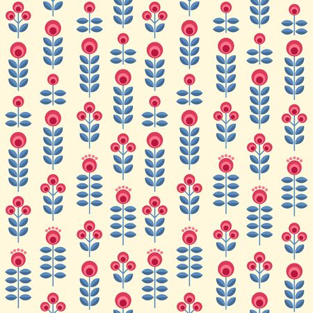 Scandinavian folk style flowers - seamless floral pattern based on traditional folk ornaments. Vector illustration. Illustration