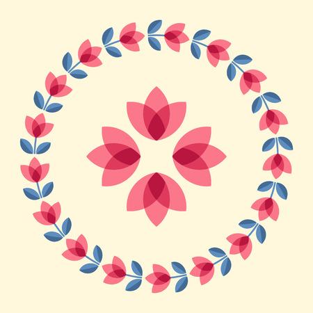 ornamented: Scandinavian folk style flower in round floral ornamented frame. Design elements for floral pattern. Vector illustration.