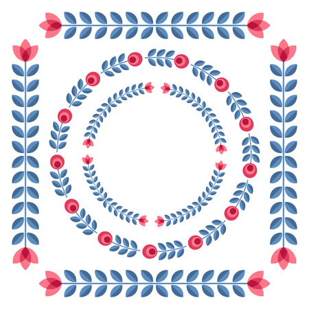 Set of design elements - round floral ornamented frames with Scandinavian minimal folk style. Perfect for invitation, greeting card, save the date, wedding design. Vector illustration. Vector
