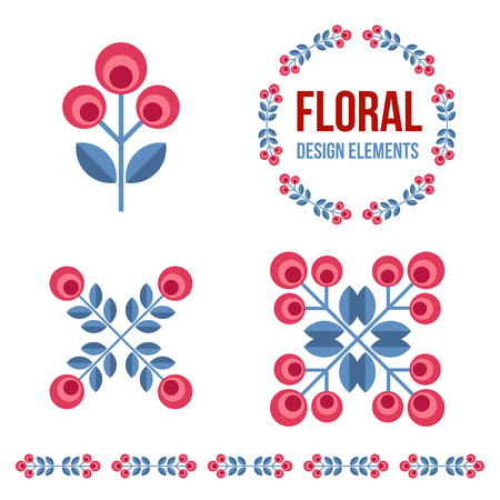 Set of design elements - flowers and floral ornamented borderds  with Scandinavian minimal folk style. Perfect for invitation, greeting card, save the date, wedding design. Vector illustration. Vector