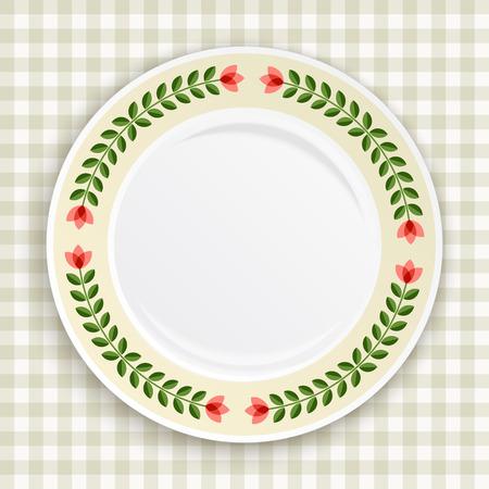 Decoratieve plaat met gedessineerde bloemen grens, op blauw tafellaken. Leeg bord, bovenaanzicht. Vector illustratie.