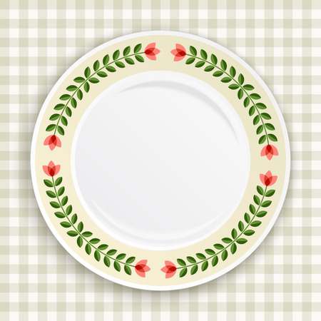 Decorative plate with patterned floral border, on gingham tablecloth. Blank plate, top view. Vector illustration.