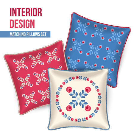 pillows: Set of three matching decorative pillows for interior design. Patterned throw pillow. Vector illustration.