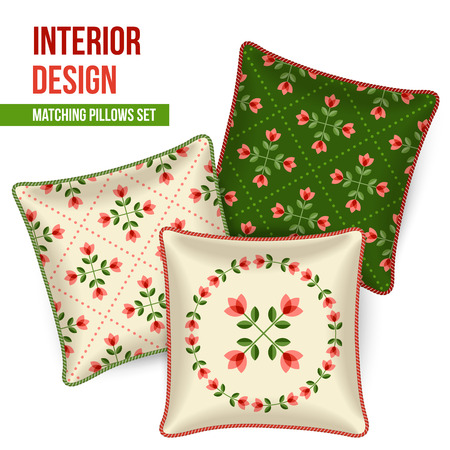 Set of three matching decorative pillows for interior design. Patterned throw pillow. Vector illustration. Vector