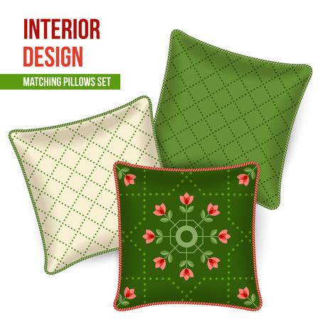 room accents: Set di tre corrispondenti cuscini decorativi per l'interior design. Patterned cuscino tiro. Illustrazione vettoriale.