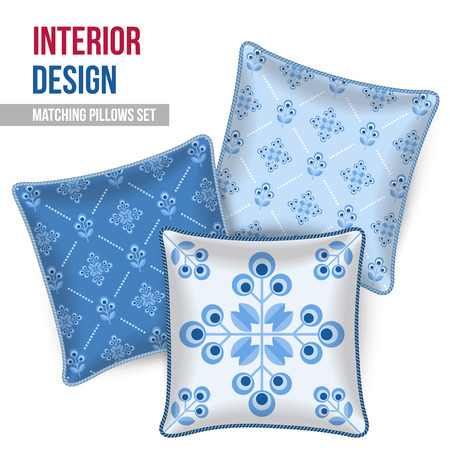 room accents: Set of three matching decorative pillows for interior design. Patterned throw pillow. Vector illustration.