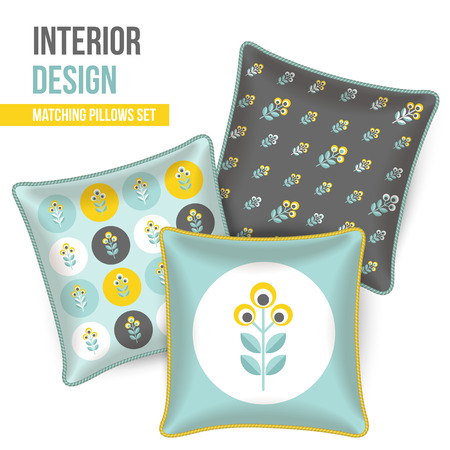 room accent: Set of three matching decorative pillows for interior design. Gray, yellow and turquoise-teal patterned throw pillows. Vector illustration.