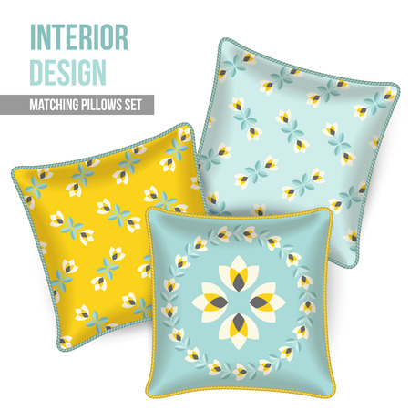 pillows: Set of three matching decorative pillows for interior design. Gray, yellow and turquoise-teal patterned throw pillows. Vector illustration.