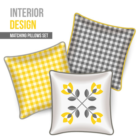 Set of three matching decorative pillows for interior design. Gray and yellow patterned throw pillows. Vector illustration. Vector