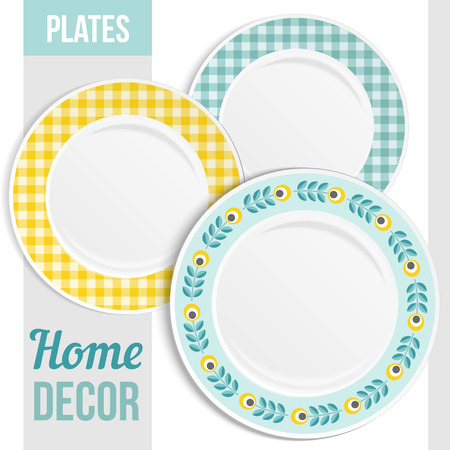 empty plate: Set of three matching decorative plates for  interior design. Patterned round frame. Empty plate, top view. Vector illustration.