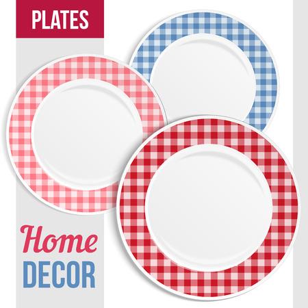 Conjunto de tres emparejan placas decorativas para el diseño de interiores. Patterned marco redondo. Placa vacía, vista desde arriba. Ilustración del vector. Foto de archivo - 39218970