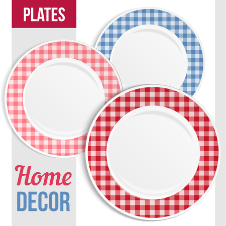 Set of three matching decorative plates for  interior design. Patterned round frame. Empty plate, top view. Vector illustration.
