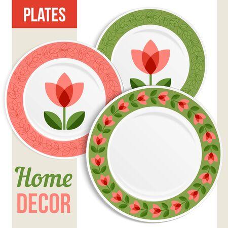 인테리어 디자인 세 일치 장식 접시의 집합입니다. 무늬 라운드 프레임. 빈 접시, 상위 뷰입니다. 벡터 일러스트 레이 션. 일러스트